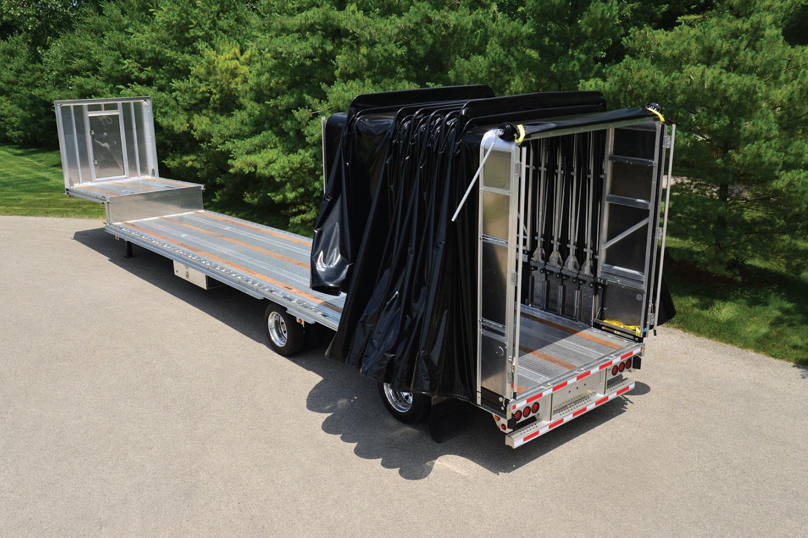 Aero Conestoga Flatbed Trailer Tarp System Fully Open