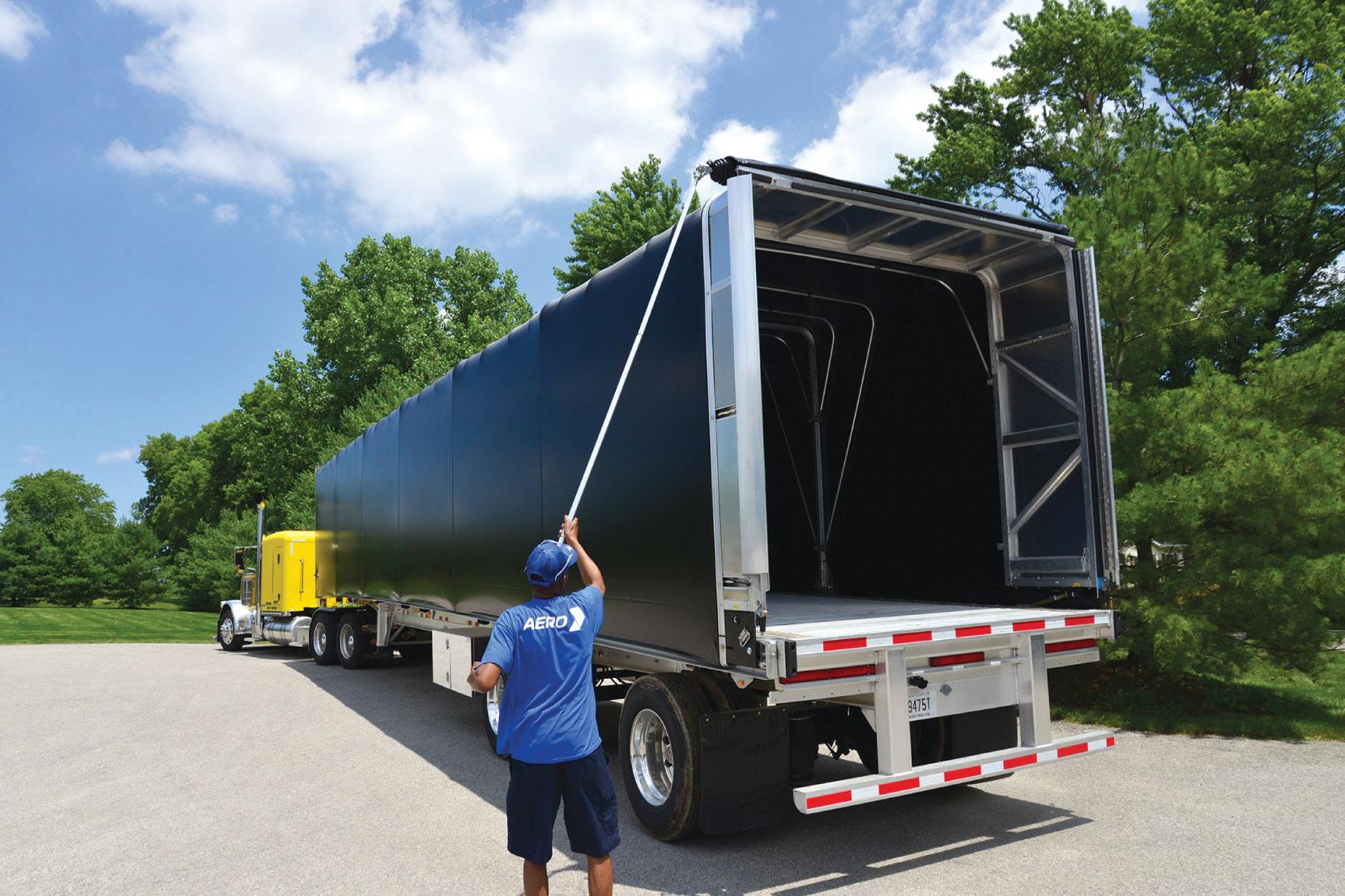 Aero Conestoga Flatbed Trailer Tarp System Closed